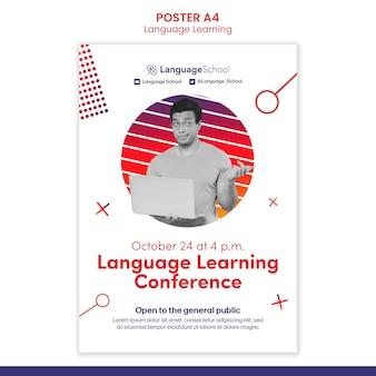 Plantilla de póster de conferencia de aprendizaje de idiomas