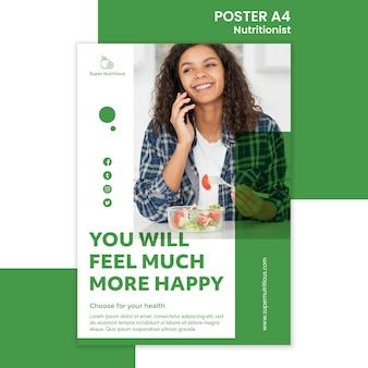 Plantilla de póster con consejos nutricionistas