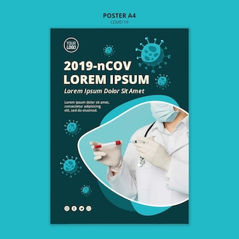 Plantilla de póster de coronavirus a4 con foto