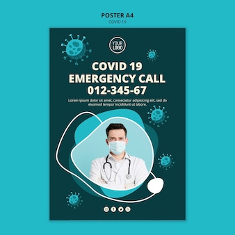 Plantilla de póster de coronavirus con foto