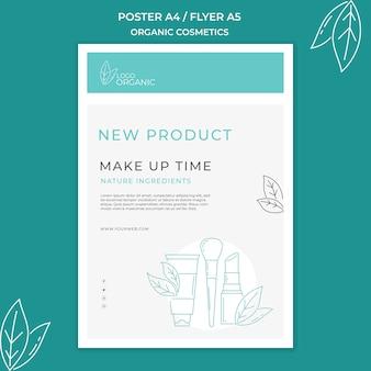 Plantilla de póster de cosméticos orgánicos