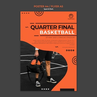 Plantilla de póster de cuartos de final de baloncesto