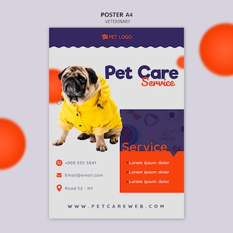 Plantilla de póster para el cuidado de mascotas con perro