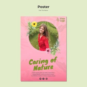 Plantilla de póster de cuidado de la naturaleza