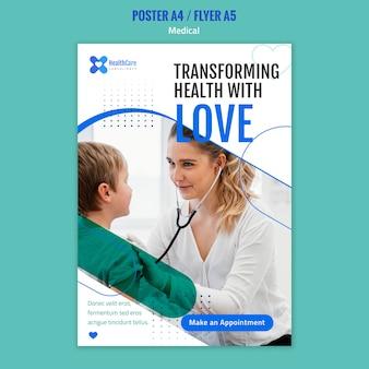Plantilla de póster para el cuidado de la salud