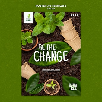 Plantilla de póster de cultivo de plantas
