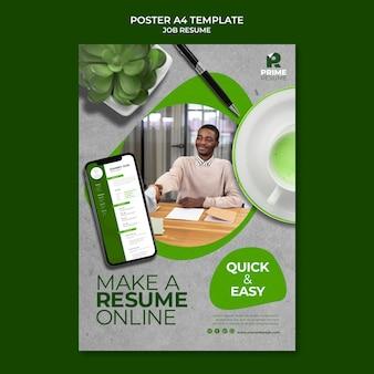 Plantilla de póster de currículum vitae de trabajo