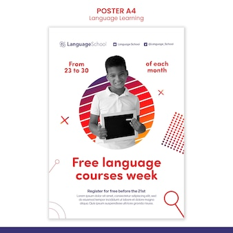 Plantilla de póster de cursos de idiomas gratis
