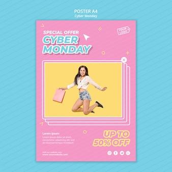 Plantilla de póster para cyber monday shopping