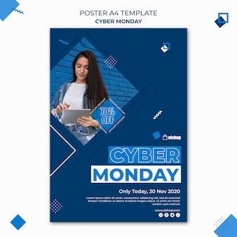 Plantilla de póster de cyber monday
