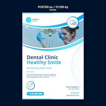 Plantilla de póster de dentista
