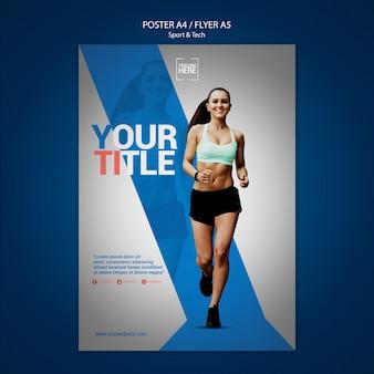 Plantilla de póster para deporte y tecnología.