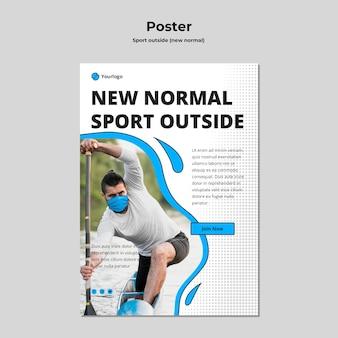 Plantilla de póster deportivo fuera con foto