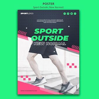Plantilla de póster deportivo fuera