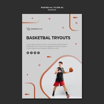Plantilla de póster deportivo de pruebas de baloncesto