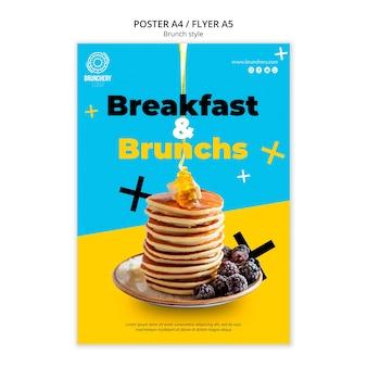 Plantilla de póster de desayuno y brunch