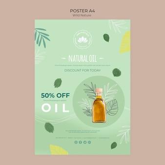 Plantilla de póster de descuento de aceite natural