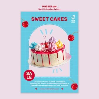 Plantilla de póster de descuento de panadería