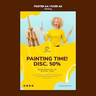 Plantilla de póster de descuento de tiempo de pintura