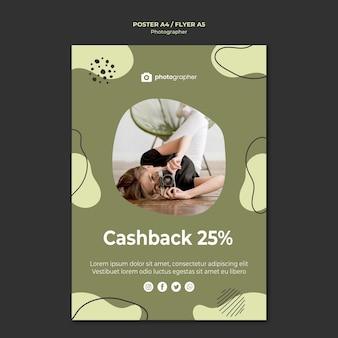 Plantilla de póster de devolución de dinero del fotógrafo