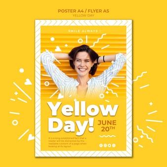 Plantilla de póster del día amarillo