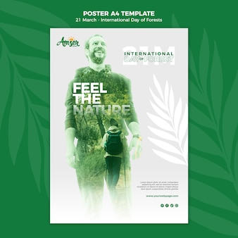 Plantilla de póster del día de los bosques creativos con foto