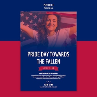 Plantilla de póster del día de los caídos