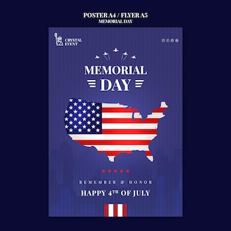 Plantilla de póster para el día conmemorativo de los estados unidos