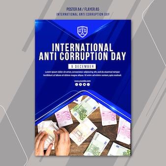 Plantilla de póster del día contra la corrupción