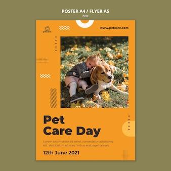 Plantilla de póster del día del cuidado de mascotas