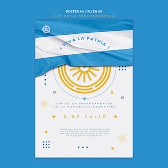 Plantilla de póster del día de la independencia de argentina