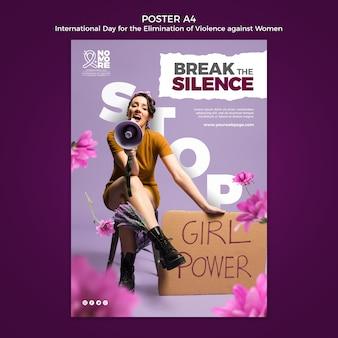 Plantilla de póster del día internacional para la eliminación de la violencia contra la mujer