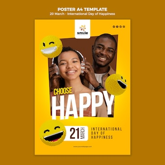 Plantilla de póster del día internacional de la felicidad con foto