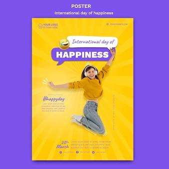 Plantilla de póster del día internacional de la felicidad