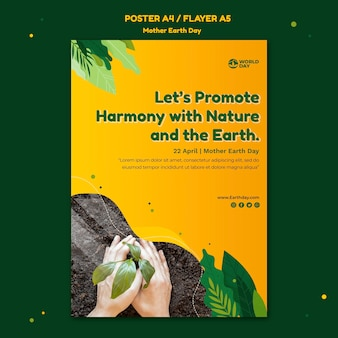 Plantilla de póster del día de la madre tierra