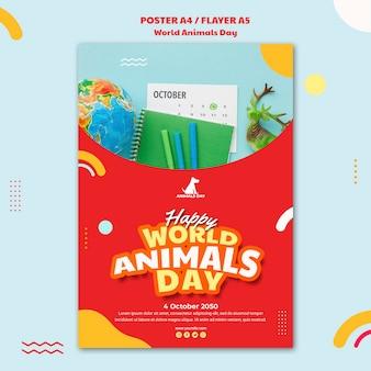 Plantilla de póster del día mundial de los animales