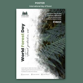 Plantilla de póster del día mundial de los bosques