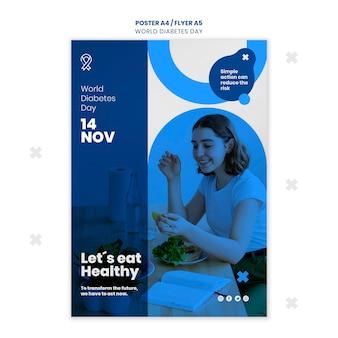 Plantilla de póster del día mundial de la diabetes