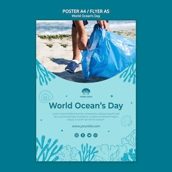 Plantilla de póster del día mundial del océano