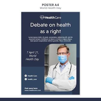 Plantilla de póster del día mundial de la salud con foto