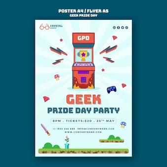Plantilla de póster del día del orgullo friki