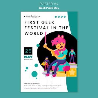 Plantilla de póster del día del orgullo geek