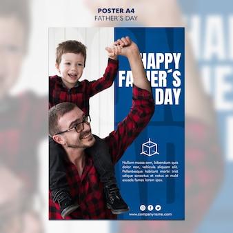 Plantilla de póster del día del padre de papá e hijo