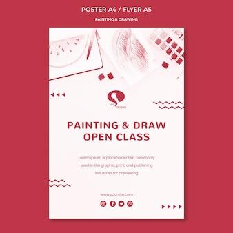 Plantilla de póster de dibujo y pintura
