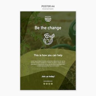 Plantilla de póster con diseño ambiental