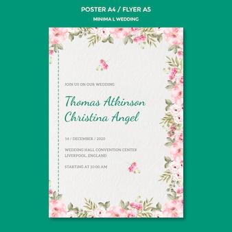Plantilla de póster con diseño de boda