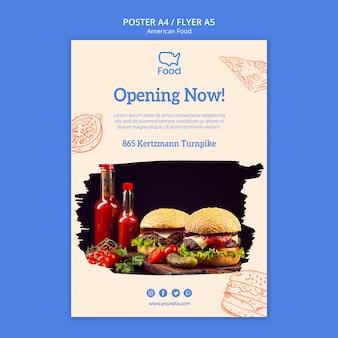Plantilla de póster con diseño de comida americana