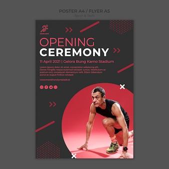 Plantilla de póster con diseño deportivo y tecnológico