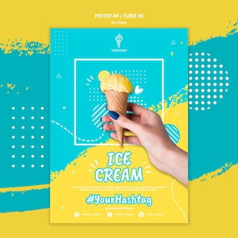 Plantilla de póster con diseño de helado