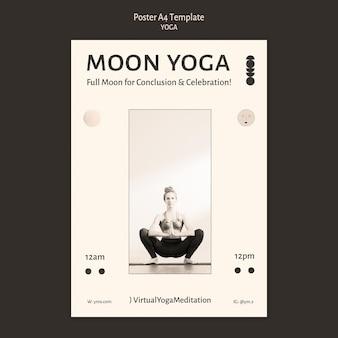 Plantilla de póster de diseño incoloro de práctica de yoga